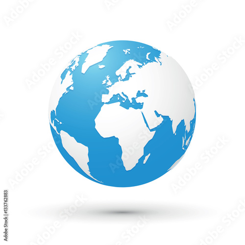 Fototapeta world map blue white illustration globe