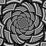 Curved Chevron Spiral in Black and White / A digital abstract fractal image with a curved chevron spiral design in black and white. - 133764694