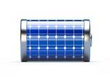 Battery with solar panels