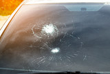 Crash windshield glass of car,the broken and damaged car - 133768239