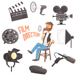 Film Director Sitting With Megaphone Controlling Movie Shooting Process Surrounded By Moviemaking Set Of Ofbjects