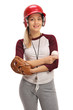 Happy woman with a baseball and a glove