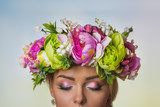 Beautiful Ukrainian bride with large flower crown