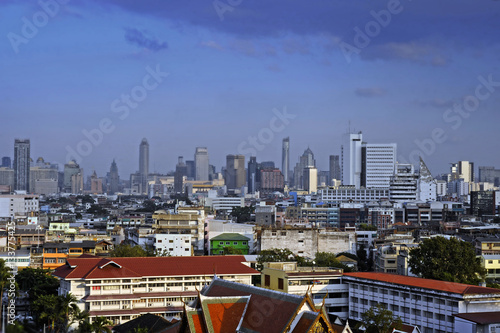 Poster amazing Bangkok scenic urban view of skyline business district from golden mount