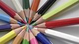 Close-up of rotating color pencils