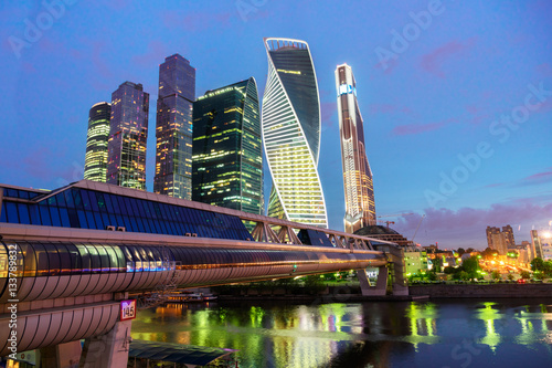 Poster Moscow city skyscrapers and river at night, Russia