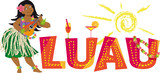 Luau party banner with a hula dancer, playing ukulele, EPS 8 vector illustration - 133790493