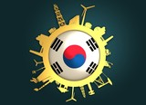 Circle with industry relative silhouettes. Objects located around the circle. Industrial design background. Korea flag in the center. Golden material. 3D rendering