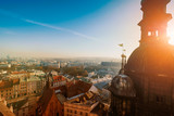 Day time aerial sityscape of Krakow old city, Poland