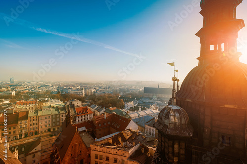 Foto op Plexiglas Krakau Day time aerial sityscape of Krakow old city, Poland