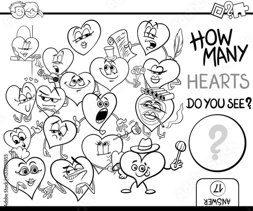 counting hearts coloring page