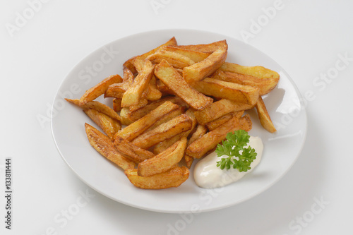 Poster fried chipped potatoes
