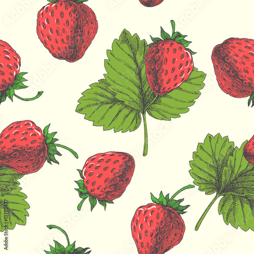 Materiał do szycia Strawberry. Vector seamless pattern. Floral hand drawn illustration