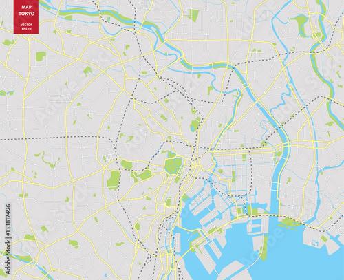 Vector color map of  Tokyo, Japan. City Plan of  Tokyo