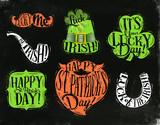 St Patrick symbols chalkboard