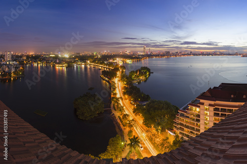 Foto op Canvas Europa Hanoi skyline cityscape at twilight period. West Lake aerial view