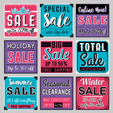 Nine Square banners with sale offer, vector illustration