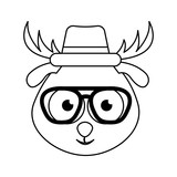 cute deer character hipster style vector illustration design