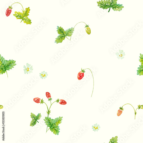 Forest strawberry. Vector seamless pattern. Hand painted watercolor illustration. - 133831003