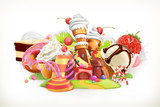 Sweet shop. Confectionery and desserts, 3d vector illustration