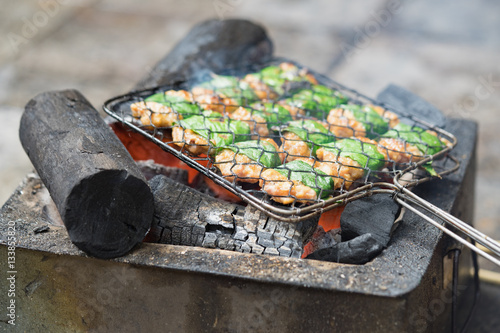 Barbecue meat cooking on fire - the ingredient of