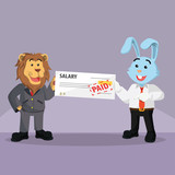 business rabbit getting paid from his boss