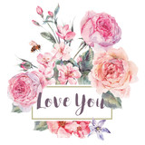 Vector spring vintage floral greeting card with bouquet of roses - 133859836