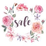 Vector spring vintage floral sale card - 133860006