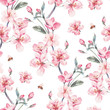Vintage garden vector spring seamless background - 133860218