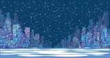 City skyline panorama, winter snow landscape at night, hand drawn cityscape, vector drawing architecture illustration - 133860228