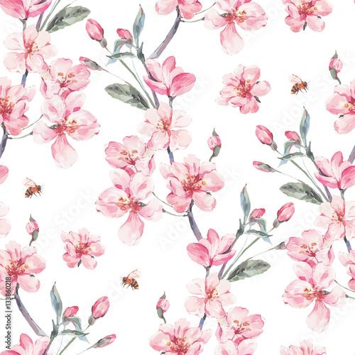 Vintage garden vector spring seamless background - 133860218