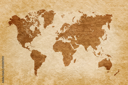 world map on grunge background, vintage look © dziewul