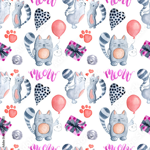 Cotton fabric Valentine's Day greeting card template, seamless pattern