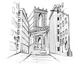 Fototapeta New York - Panorama miasta Nowy Jork. Rysunek ręcznie rysowany na białym tle. © Katarzyna