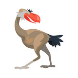 Prehistoric animal. Vector cartoon ancient mammal ice age extinct bird