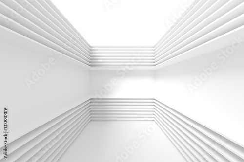 Staande foto Abstract wave White Minimal Technology Design