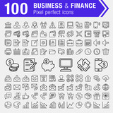 Set of 100 pixel perfect finance, banking and business icons for mobile apps and web design.