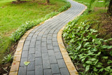 Curve walking path in park - 133886406
