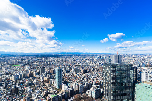 Tuinposter Donkerblauw 東京 青空と都市風景