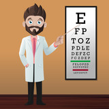 Optician pointing Snellen eye chart