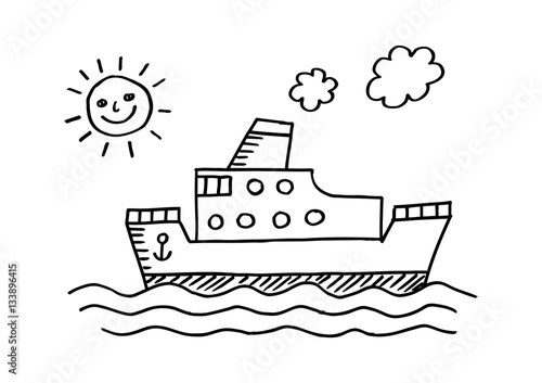 Papiers peints Cartoon draw Passenger ship on white background