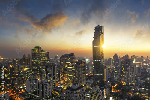 Poster Aerial view of Bangkok modern office buildings, condominium in Bangkok city down