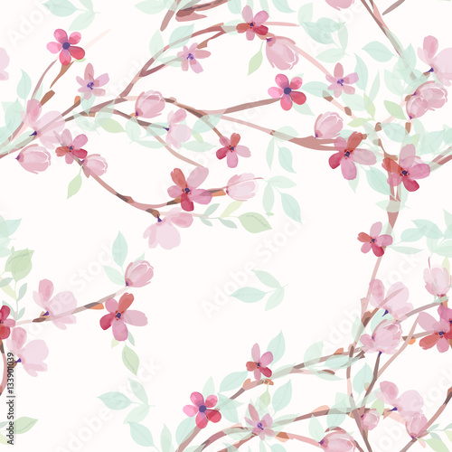 Hand drawn painted seamless pattern. Vector illustration - 133901039