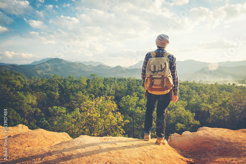 Man Traveler with backpack mountaineering Travel Lifestyle conce