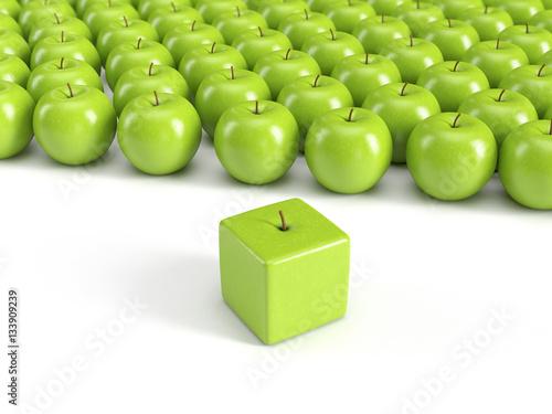 Anders sein, Individualität, Einzigartigkeit, Persönlichkeit – grüne Äpfel - 133909239