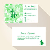 green floral and bamboo business card design eps10