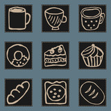 Icons of kitchen items, tasty and not very