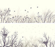 Horizontal wide banners forest with tree branches and birds.