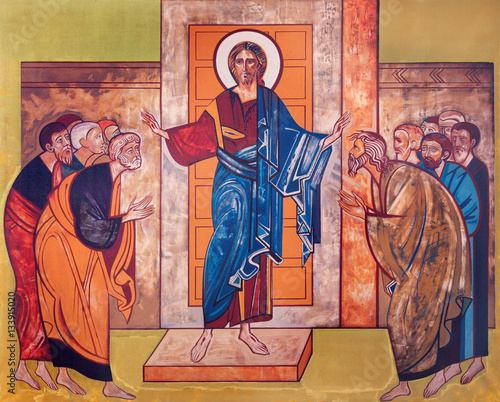 VIENNA, AUSTRIA - DECEMBER 19, 2016: The icon of Jesus among the apostles