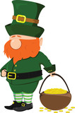 Beard leprechaun with a pot